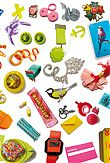 collage with jewellery, collage with fascinating objects,