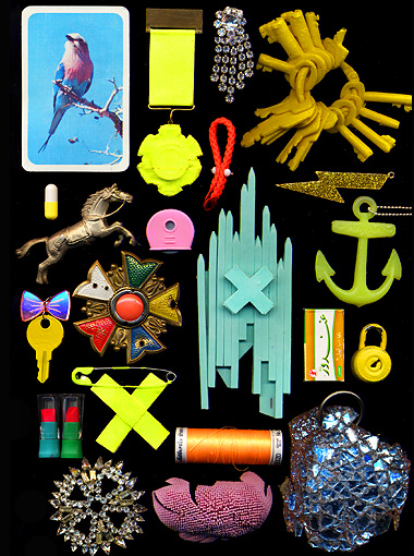 collage with jewellery, collage with fascinating objects, scan