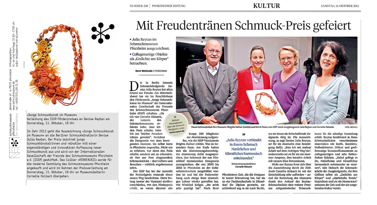 Denise Reytan, Denise Julia Reytan, Reytan, Berlin Jewellery, Jewellerydesign Germany, Jewelry Berlin, ISSP Preis, Schmuckmuseum Pforzheim, ISSP Preis 2012, Schmuckmuseum Preisverleihung, Schmuckmuseum Pforzheim Schmuck Reytan